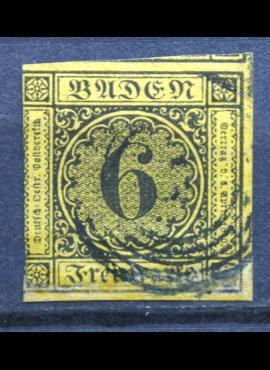 Senoji Vokietija, Badenas, 1853m, MiNr 7 Used(O)