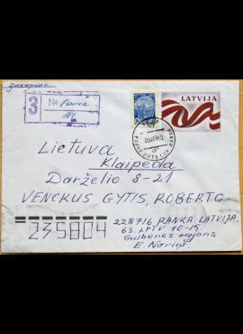 Latvija, 1990m naudotas, markiruotas vokas G