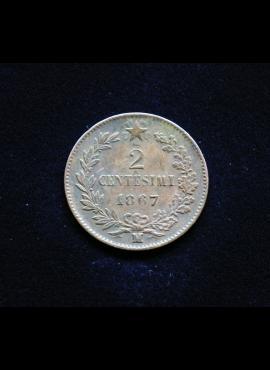 Italija, 2 čentezimai 1867m - M
