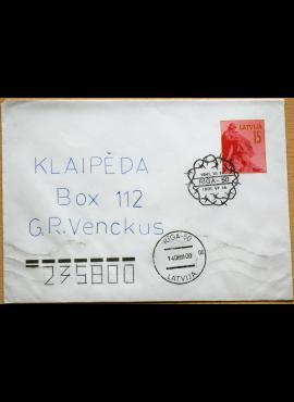 Latvija, 1991m proginis, pirmos dienos, markiruotas vokas G
