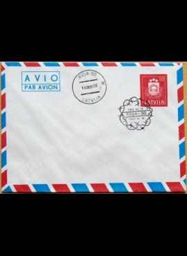 Latvija, 1991m pirmos dienos, markiruotas oro pašto vokas G