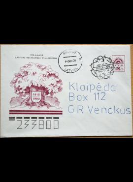 Latvija, 1990m proginis, pirmos dienos, markiruotas vokas G