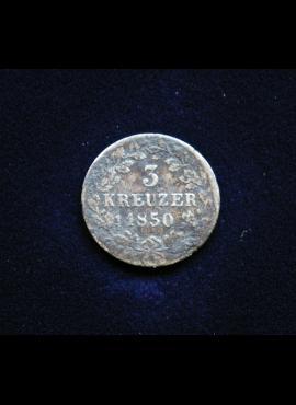 Viurtembergas, SIDABRINIAI 3 kreiceriai 1850m
