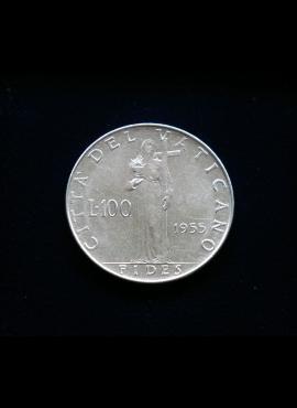 Vatikanas, 100 lirų 1955m