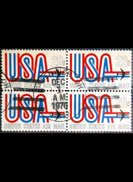 JAV, oro pašto kvartblokis ScNr C75 Used(O)