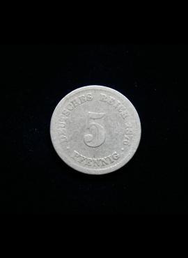 Vokietijos Imperija, 5 pfenigiai 1876m-D