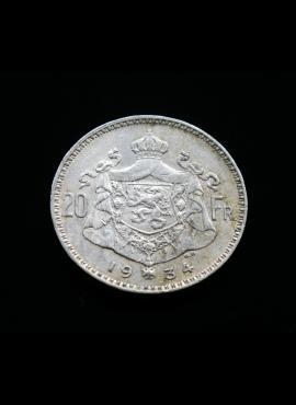 Belgija, SIDABRINIAI 20 frankų, 1934m