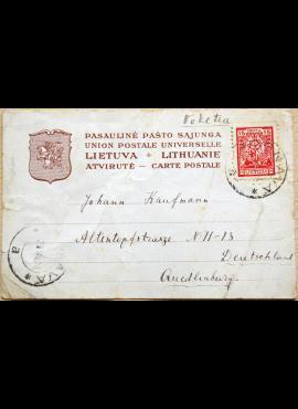 Tarpukario Lietuvos atvirukas su MiNr 188