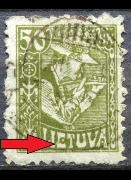 Tarpukario Lietuva, abartas MiNr 92 I V55 Used(O)