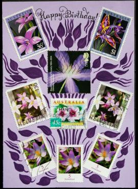 Violetinis, gimtadienio sveikinimų atvirukas