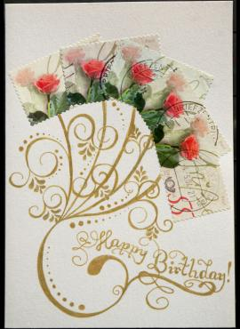Pastelinių atspalvių, gimtadienio sveikinimų atvirukas