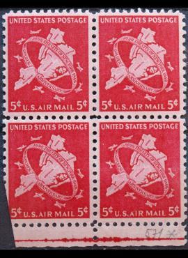 JAV, oro paštas, kvarblokis ScNr C38 MNH**