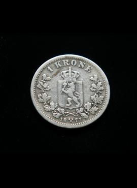 Norvegija, SIDABRINĖ 1 krona 1877m E
