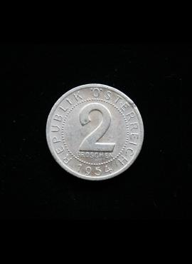 Austrija, 2 grošenai, 1954m