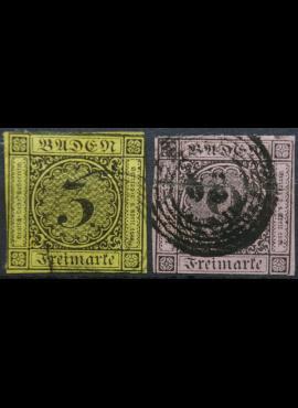 Senoji Vokietija, Badenas, 1851m, MiNr 2, 4 Used(O)
