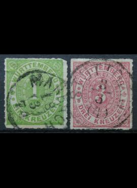 Senoji Vokietija, Viurtembergas, 1869 m. MiNr 36, 38 Used (O)