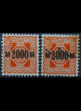Senoji Vokietija, Viurtembergas, mokesčių ženklai MNG(*)/Used(O)