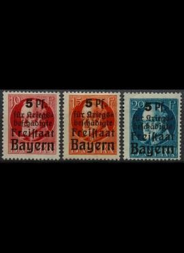 Senoji Vokietija, Bavarija, pilna serija MiNr 171-173 (A) MH*