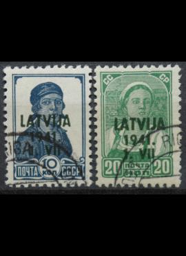 Vokietijos Reichas, Latvijos okupacija MiNr 2, 4 Used(O)