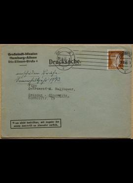 Vokietijos Reicho vokas, su MiNr 782 pašto ženklu