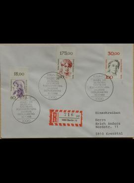 Vokietija, Vakarų Berlynas 1988m pirmos dieno vokas su MiNr 824-825, 828