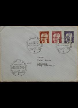 Vokietija, Vakarų Berlynas 1971m pirmos dienos vokas su MiNr 363, 368, 370