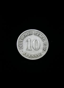 Vokietijos Imperija, 10 pfenigių 1908m-D