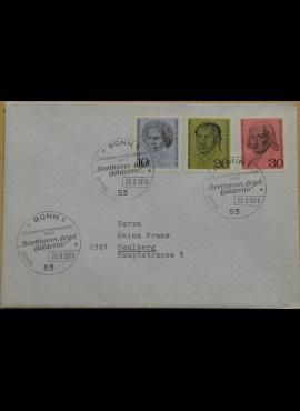 Vokietija, 1970m pirmos dienos vokas su MiNr 616-618