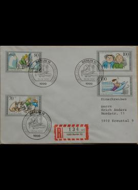 Vokietijos ir Vakarų Berlyno 1990m pirmos dienos vokas su MiNr 1458, 869-871
