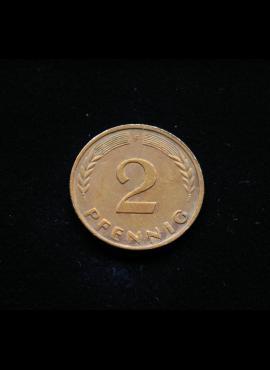 Vokietija, 2 pfenigai 1970m-F