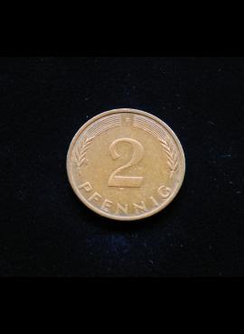 Vokietija, 2 pfenigai 1974m-F