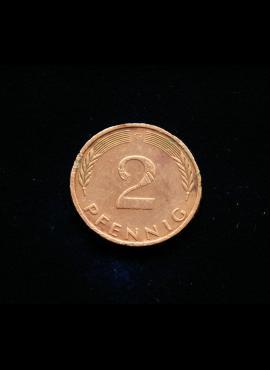 Vokietija, 2 pfenigai 1976m-G