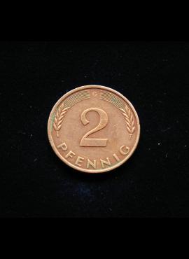 Vokietija, 2 pfenigai 1977m-G