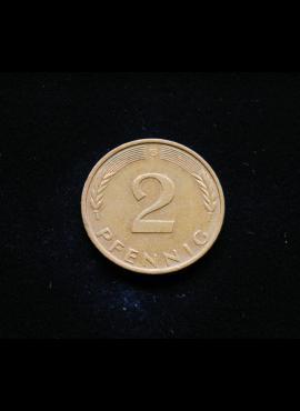 Vokietija, 2 pfenigai 1982m-G