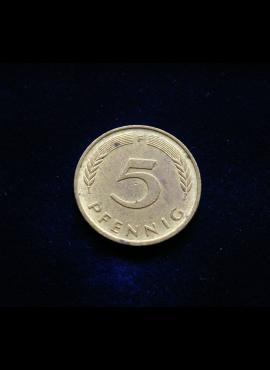 Vokietija, 5 pfenigai 1983m-F