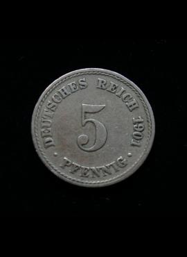 Vokietijos Imperija, 5 pfenigiai 1901m-A