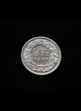 Šveicarija, 1/2 franko 1980m