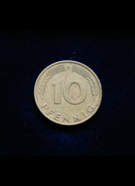 Vokietija, 10 pfenigų 1976m-D
