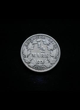 Vokietijos Reichas, SIDABRINĖS 1/2 markės 1905m-A