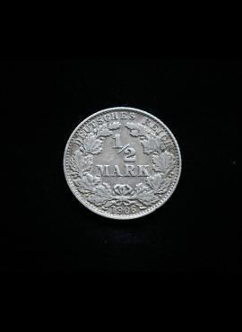 Vokietijos Reichas, SIDABRINĖS 1/2 markės 1906m-D