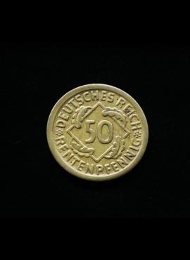 Vokietija, Veimaro Respublika, 50 rentenpfenigų 1924m-D