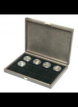 Medinė dėžutė 1 Oz sidabro monetoms kapsulėse iki 52 mm LINDNER Carus XM S2489-12