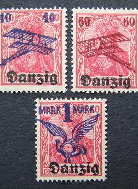 Laisvasis miestas Danzigas, pilna serija, oro paštas (I) MiNr 50-52 MLH*/MH*