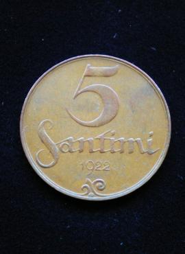 Latvija, 5 santimai 1922m