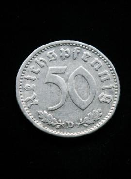 Vokietija, Trečiasis Reichas, 50 reichspfenigų 1940m-D